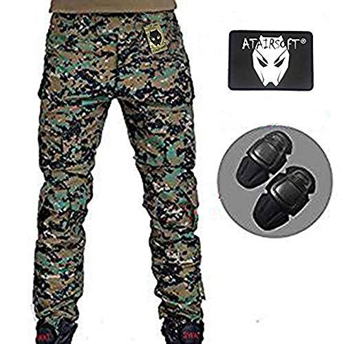 Hommes Paramilitaire Pantalon de pantalon Cargo avec genouillères numérique Woodland Aor2 pour tactique militaire Armée Airsoft Paintball Large AOR2