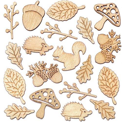 Baker Ross Figuritas de madera con motivos otoñales (pack de 45) que los niños pueden crear y decorar
