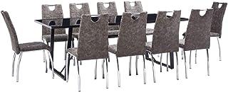 UnfadeMemory Muebles de Comedor Cocina,Conjunto de Mesa y Sillas de Comedor,Sillas de Cuero Sintético 45x60x94cm (Sillas Marrón y Mesa Negro, 11 Pzas,Mesa 200x100x75cm)