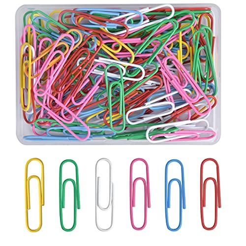 AvoDovA Pack de 100 clips de papel de Multicolor, 28 * 8mm clips de papel Linda, Clips Aguja de Papel para Materiales de Escuela Oficina (Rojo, Rosa, Amarillo, Verde, Blanco, Azul)