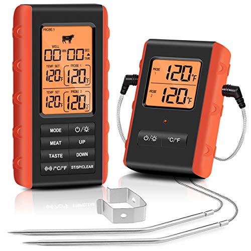 FEELLE Digitales Grillthermometer Drahtloses Fleischthermometer Küchenthermometer Ofenthermometer mit Timer, Zwei Edelstahlsonden für Grillofen Küchensmoker, Reichweite bis zu 100 Meter
