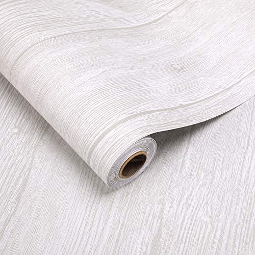 2 Rollen Holzoptik Bodenbelag PVC-Belag 60x500cm selbstklebend Klebefolie ca.3㎡/Rolle Bodenschutz Folie verdicke Aufkleber Stärke 0,35mm Schutzfolie (Holz-Beige)