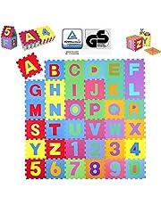 KIDUKU® 86-delige puzzelmat kinderspeelkleed speelmat speeltapijt schuimmat kinderkleed, cijfers en hoofdletters, afmetingen van elk stuk ca. 31,5 x 31,5 cm