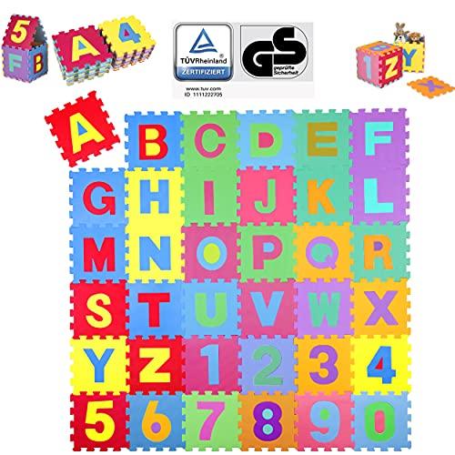 KIDUKU® Tappeto Puzzle 36 Pezzi con Numeri e Lettere Colorati in Morbida Gomma Eva Resistente, Isolante, Lavabile – Tappeto da Gioco per Bambini