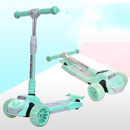 LLRDIAN Kinder Roller Klapp breites Rad Dreirad-Blitz fürrad Kind Anf er yo Auto Einstellbarer Aufzug 2-12 Jahre alt Kinder Roller (Farbe   Grün)