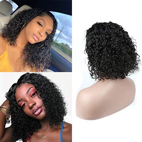Perruque Femme Naturelle Brésilien Courte Bob Lace Wig Human Hair Kinky Curly Cheveux Humain Naturelle Remy Vrai Bouclés Grade 8A Perruque Femme Couleur Noir 8 pouce