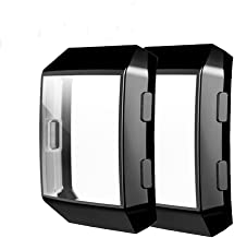 [2 Pack] Fitbit Ionic Screen Protector Case, JZK Scratch-Resistant Flexible Lightweight Plated TPU Fullbody Protective Case for Fitbit Ionic Smart Watch,Black+Black