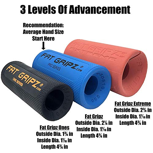 Fat Gripz - The Simple Proven Way to Get Big Biceps & Forearms Fast (Winner of The Mens Health Magazine Home Gym Award 2020) (2.25 Outer Diameter)