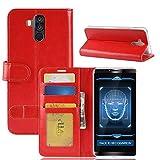 tinyue® Für Oukitel K6 Hülle, Ultradünne PU-Ledertasche Flip Wallet Cover, R64 strukturierte Business Style Ledertasche, Rot