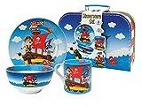 Set de Vajilla Infantil Decorativa de Porcelana' Piratas'. Vajillas y Cuberterías. Regalos Originales para Reyes, Navidad y Cumpleaños. Menaje de Cocina.