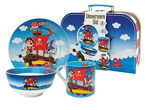Set de Vajilla Infantil Decorativa de Porcelana' Piratas'. Vajillas y Cuberterías. Regalos Originales para Reyes,...