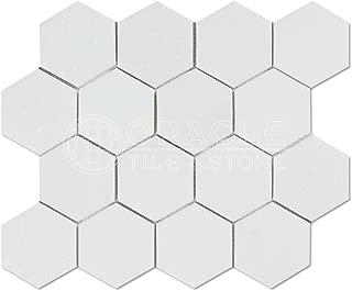 Thassos White Greek Marble 3 inch Hexagon Mosaic Tile, Honed