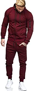 Limsea Men's Sports Suit Tracksuit 2019 Spring Solid Color Full-Zip Running Jogging Sports Jacket and Pants