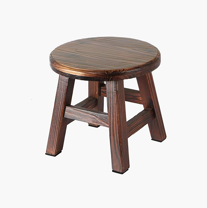 HCJSFD JCRNJSB Sofa Stool Small Bench Household Solid Wood Small Stool Simple And Modern Adult Coffee Table Stool Shoe Bench Diameter 28 Height 26cm Removable Round Short Leg Sofa Stool Wooden Benc