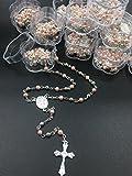 (12) PCS - Baptism, First Communion Rosary Favor Pink Pearl Recuerdos para Primera Comunion Niña Niño