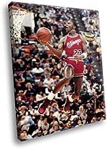 H5D6868 Michael Jordan Dunk Chicago Bulls NBA Basketball 20x16 FRAMED CANVAS PRINT