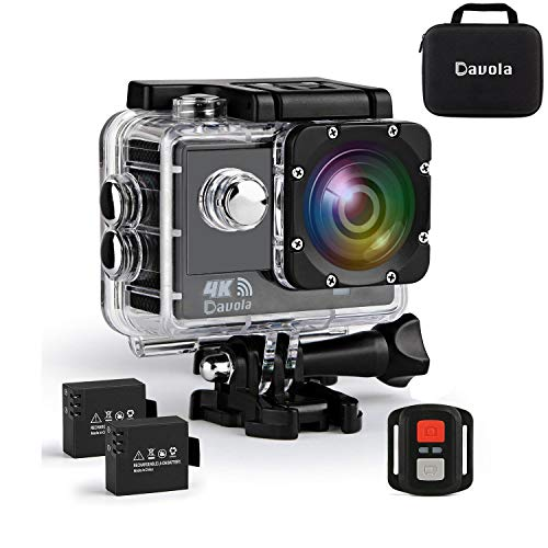 Action Camera 4K, Waterproof Camera, Underwater Camera WiFi Ultra HD 16mp 170 Degrees Wide Angle Sports Camera with Remote Control 2 Batteries and Mounting Accessories Kit