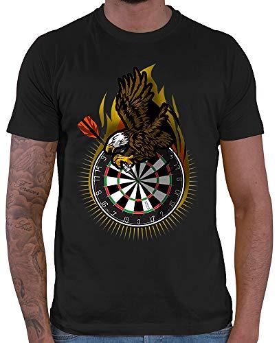 HARIZ Herren T-Shirt Adler Dartscheibe Dart Sprüche Dartscheibe Sport Fun Trikot Plus Geschenkkarte Schwarz L