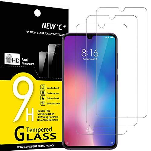 NEW'C 3 Unidades, Protector de Pantalla para Xiaomi Mi 9, Antiarañazos, Antihuellas, Sin Burbujas, Dureza 9H, 0.33 mm Ultra Transparente, Vidrio Templado Ultra Resistente