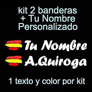 Vinilin Pegatina Vinilo Bandera España + tu Nombre - Bici, Casco, Pala De Padel, Monopatin, Coche, Moto, etc. Kit de Dos V...