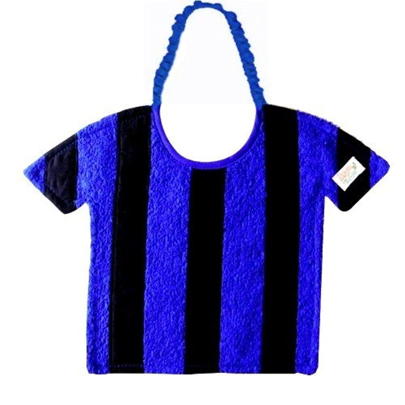 Zigozago - Baby Bib Black and Blue stripes t-shirt - Tie: Elastic - One Size