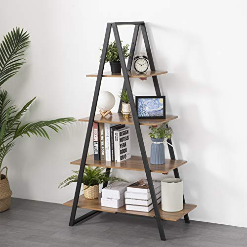KOTPOP No-Assembly Folding Bookshelf, 4-Tier Adjustable Bookcase with Wooden look and Metal Frames Industrial Storage Shelf, Open Modern Book Cabinet Rack for Living Room/Home Office, Natural