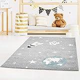Kinderteppich Bubble Kids Flachflor Weltall Rakete Sterne in Grau Blau für Kinderzimmer: Größe 160x225 cm
