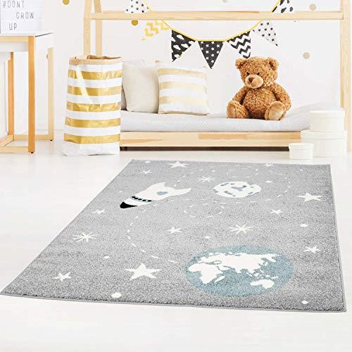 Kinderteppich Bubble Kids Flachflor Weltall Rakete Sterne in Grau Blau für Kinderzimmer: Größe 120x160 cm