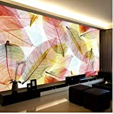 HD wasserdicht leinwand druck, Mode Innenarchitektur 3D Stereo Transparent Blätter Fototapete Esszimmer Wohnkultur Tapete Moderne Kreative Wandmalerei 400x280cm