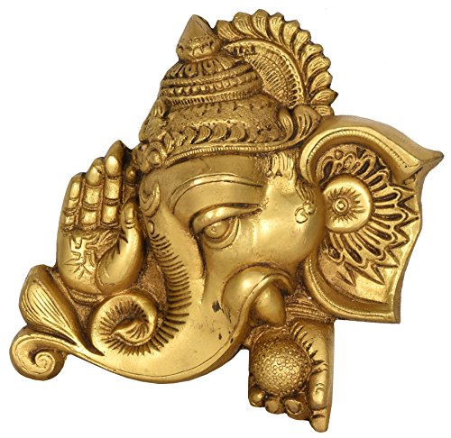 Exotic India Blessing Ganesha Wall Hanging Mask - Brass Statue