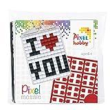 Pixel P23016 Mosaico Medaglione I Love You, portachiavi per bambini fai da te, sistema a incastro, senza stiratura e colla, pietre in plastica biologica