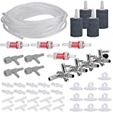 Aquarium Air Flow Contro, with Air Stones ,8m Airline Tubing Check Valves, Suction Cups and Connectors,4-Way Air...