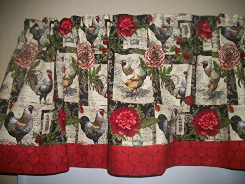 Black French Country Rooster Chicken farm kitchen farmhouse fabric curtain topper Valance