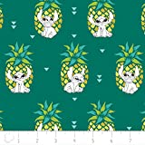 Disney Fabric Lilo and Stitch Fabric Pineapple in Evergreen by The Yard