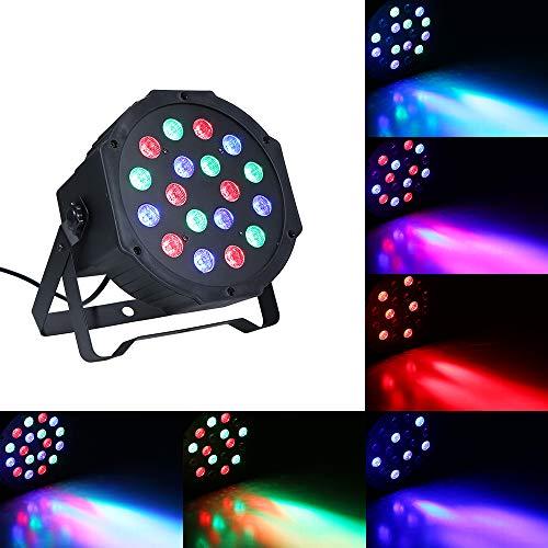 LED Par Light, RGB Led podiumverlichting, 18 W 18 LED DJ-lampen, geluid geactiveerd, automatische werking, DMX512, dimbaar, master-slave 4 flexibele wokring-modi voor feesten, bar, club, disco bruiloft verlichting