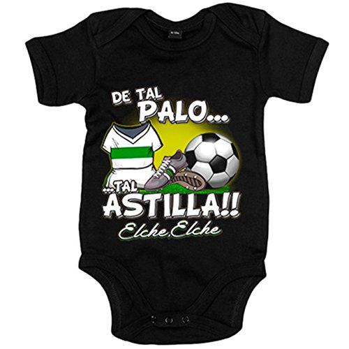 Body bebé de tal palo tal astilla Elche fútbol - Negro, 6-12 meses