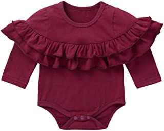 Weixinbuy Baby Girls Romper Long Sleeve Solid Color Ruffled Round Collar Clothes Bodysuit Outfits 0-24 Months