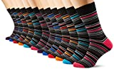 FM London Herren Socken Multi-Stripe, 12er Pack, Schwarz (Black), One size (Herstellergröße: Uk 6-11)
