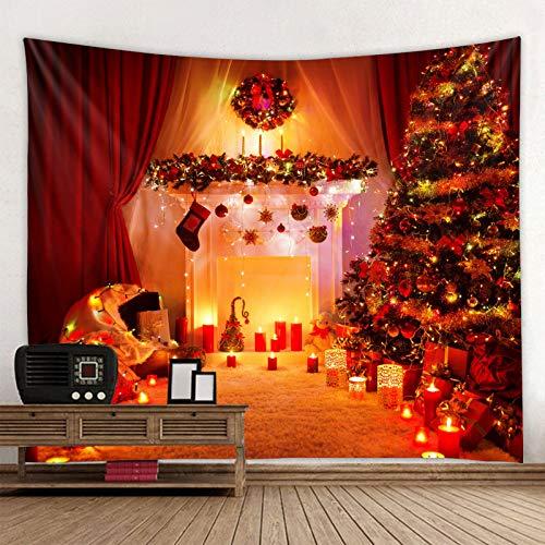 MMHJS Navidad Estilo Europeo Simple Escena De Nieve Alce Tela Decorativa Impresión Color Sólido Tapiz De Tela Dormitorio Sala De Estar Fiesta Tapiz De Vacaciones