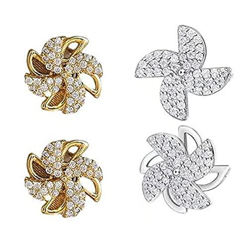 2 pares de pendientes de cristal de oro/plata, creativos pendientes de molino de viento giratorios para mujeres, aretes clásicos de circón y molino de viento joyería femenina