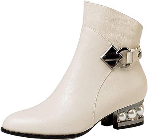 YIWANGO Stiefel Stiefeletten Herbst Und Und Und Winter Leder Metall Schnalle Perle Chelsea Stiefel  unglaubliche Rabatte