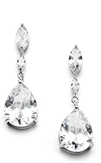 Cubic Zirconia Bridal, Bridesmaid or Prom Teardrop Earrings with Marquis and Pear-Shaped Dangles
