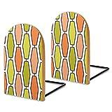 Sujetalibros de madera, 2 unidades, color naranja aguacate Mod alargado hexagonal decorativo de madera para estantes, sostenedores de libros resistentes para libros, archivos de oficina, revistas