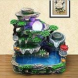 ASDFG Desktop Tischbrunnen Wasser Ornamente,Wasser Brunnen-kreatives Handwerk,büro Geschenk Dekorationen,Home Decoration Grüna 10.6inch