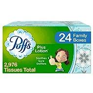 Puffs Plus Lotion Facial Tissues, 24 Family Boxes, 124 Tissues Per Box (2976 Tissues Total)