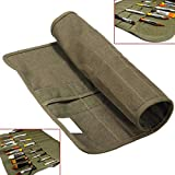 Paint Brush Case Canvas Roll Up Storage Bag Holder Canvas Wrap for Acrylic Watercolor Oil Face Brush - Army Green