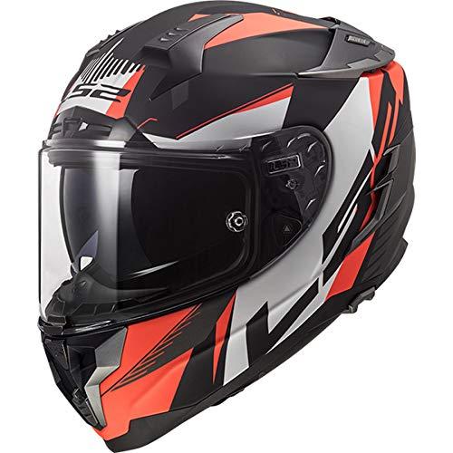 LS2 FF327 Challenger - Casco integral de lana de cristal con doble visera para moto, scooter, casco de moto para mujer y hombre, color naranja, XL (61-62 cm)