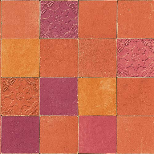 Vliesbehang Tegeltjes behang Tegel behang Oranje/Terracotta Rood 374065 37406-5 A.S. Création New Walls | Oranje/Terracotta/Rood | Sample (21 x 29,7 cm)