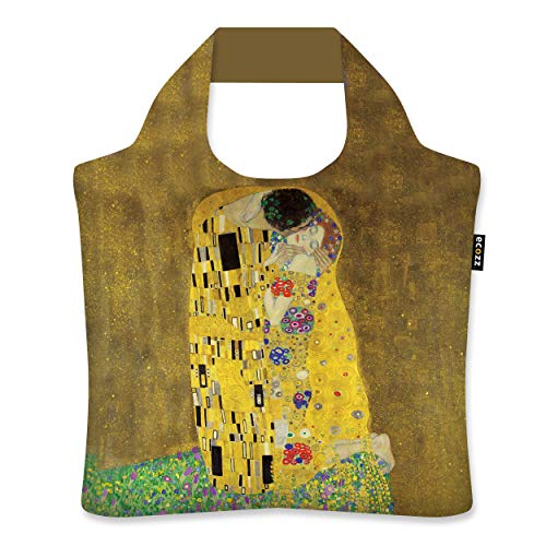 ecozz The Kiss - Gustav Klimt, rPET, Oeko-TEX, faltbar, Einkaufstasche mit Reißverschluss, Wiederverwendbar, Tragetasche, Handtasche, Tote Bag, Strandtasche, Umweltfreundlich, Einkaufsbeutel, Shopper