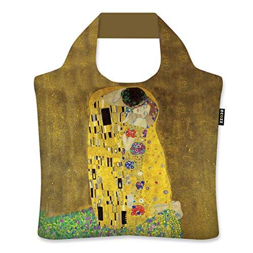 ecozz The Kiss - Gustav Klimt, faltbar, Einkaufstasche mit Reißverschluss, Wiederverwendbar, Tragetasche, Handtasche, Tote Bag, Strandtasche, Umweltfreundlich, Einkaufsbeutel, Shopper, Shopping Bag